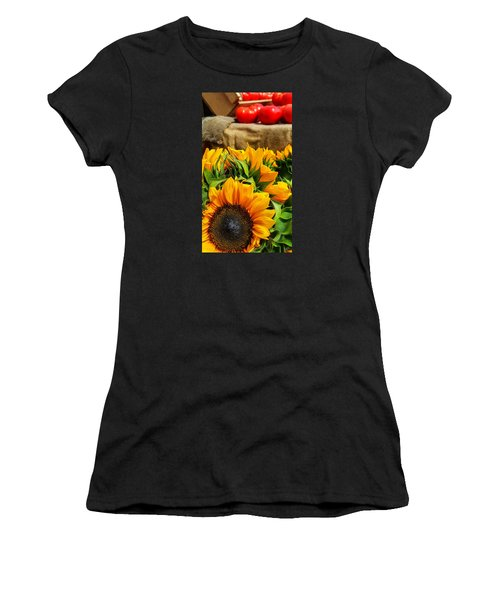 Women's T-Shirt (Junior Cut) featuring the photograph Sun Flowers And Tomatoes by Bruce Carpenter