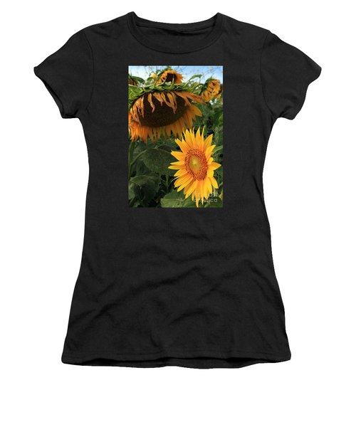 Sun Flowers  Past  And  Present  Women's T-Shirt (Junior Cut) by Paula Guttilla