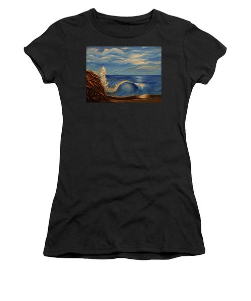 Women's T-Shirt (Junior Cut) featuring the mixed media Sun Over The Ocean by Angela Stout