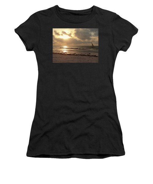 Sun Rays On The Water With Wooden Dhow Women's T-Shirt (Athletic Fit)
