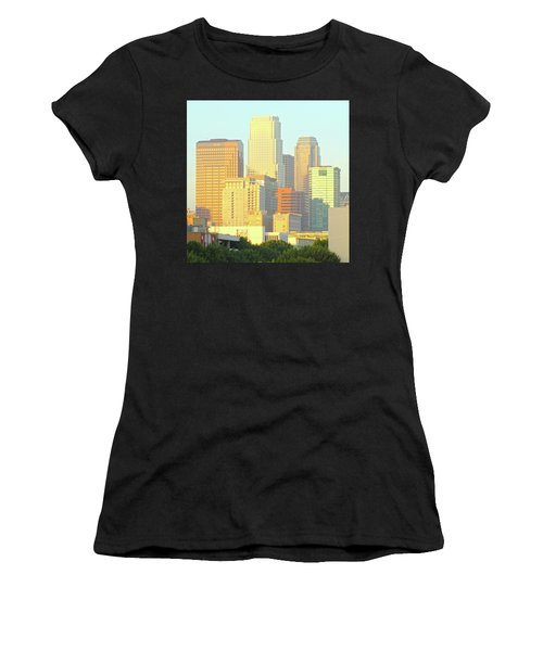 Sun Sets On Downtown Los Angeles Buildings #2 Women's T-Shirt
