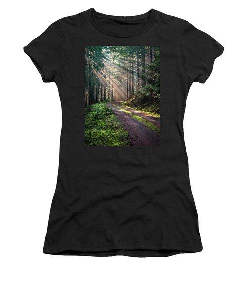 Sunbeam In Trees Portrait Women's T-Shirt