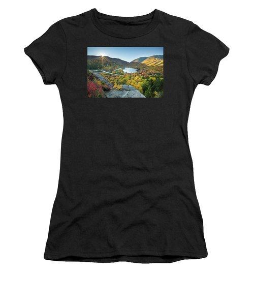 Sunburst Over Franconia Notch Women's T-Shirt (Athletic Fit)