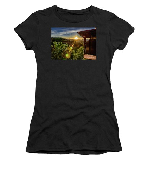 Sunburst View From Dellas Boutique Hotel Near Meteora In Kastraki, Kalambaka, Greece Women's T-Shirt (Athletic Fit)