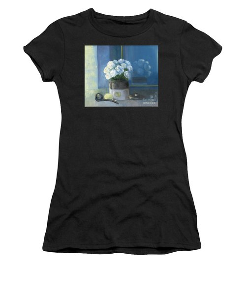 Sunday Morning And Roses - Blue Women's T-Shirt