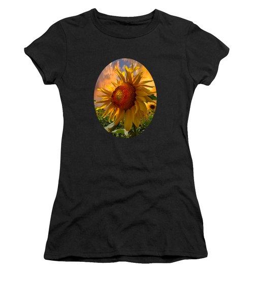 Sunflower Dawn In Oval Women's T-Shirt (Junior Cut)
