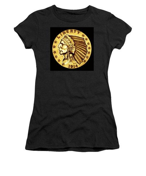Sunflower Gold Quarter Eagle Women's T-Shirt (Junior Cut) by Fred Larucci