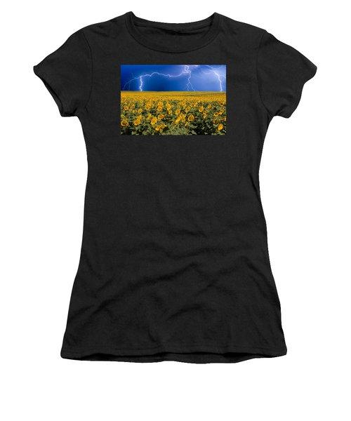Sunflower Lightning Field  Women's T-Shirt (Athletic Fit)