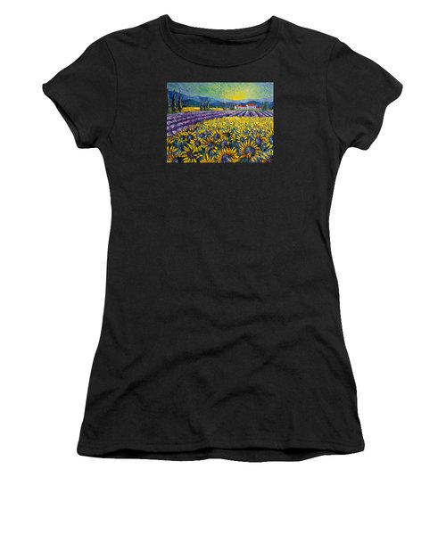 Sunflowers And Lavender Field - The Colors Of Provence Modern Impressionist Palette Knife Painting Women's T-Shirt (Athletic Fit)