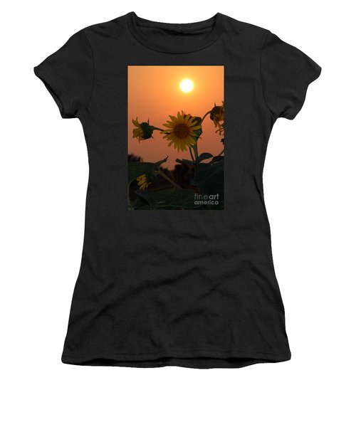 Sunflowers At Sunset Women's T-Shirt (Athletic Fit)