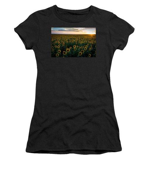 Sunflowers At Sunset Women's T-Shirt