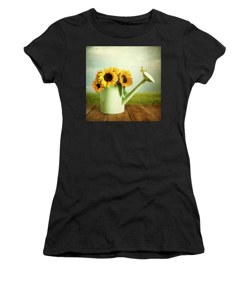 Sunflowers In A Watering Can Women's T-Shirt (Athletic Fit)