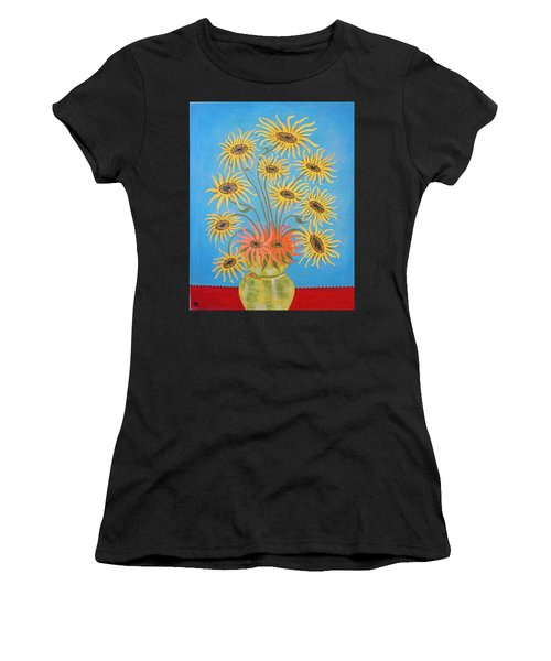 Sunflowers On Blue Women's T-Shirt (Athletic Fit)