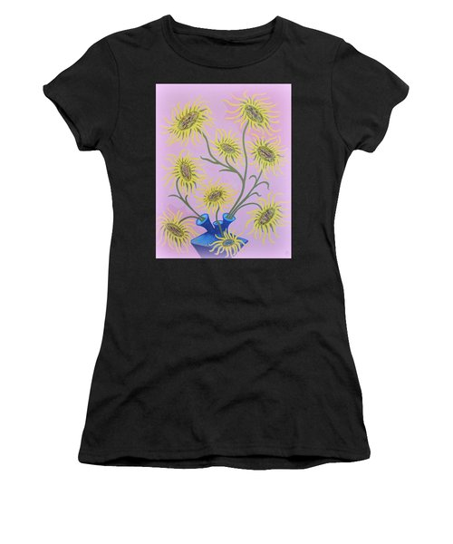 Sunflowers On Pink Women's T-Shirt (Athletic Fit)