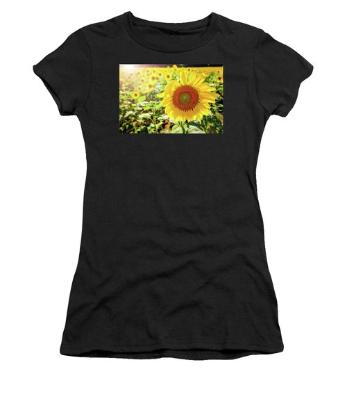 Women's T-Shirt (Athletic Fit) featuring the photograph Sunflowers by Robert Bellomy