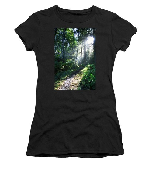 Sunlight Through Trees, Ecola State Women's T-Shirt (Athletic Fit)