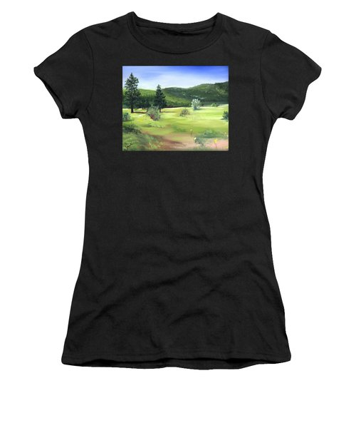 Sunlit Mountain Meadow Women's T-Shirt (Athletic Fit)