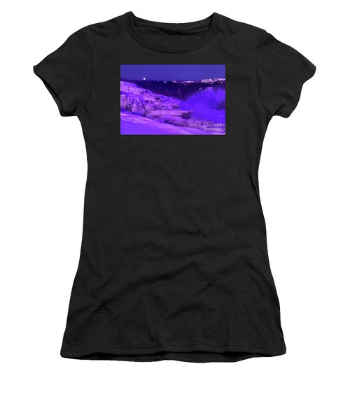 Sunrise And Moonset Over Minerva Springs Yellowstone National Park Women's T-Shirt