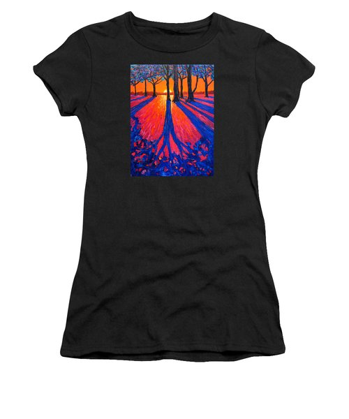 Sunrise In Glory - Long Shadows Of Trees At Dawn Women's T-Shirt