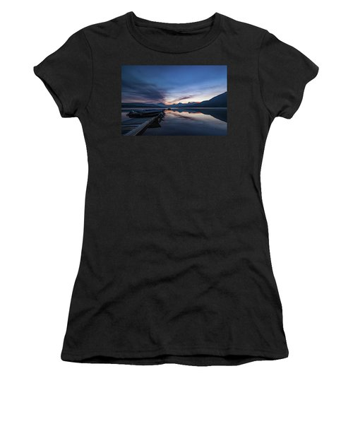 Women's T-Shirt (Athletic Fit) featuring the photograph Sunrise On Mcdonald Lake by Lon Dittrick