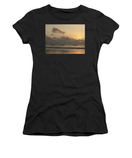 Sunrise On The Beach With Wooden Dhows Women's T-Shirt