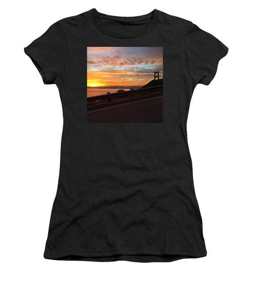 Sunrise Over San Francisco Women's T-Shirt (Junior Cut) by Eugene Evon