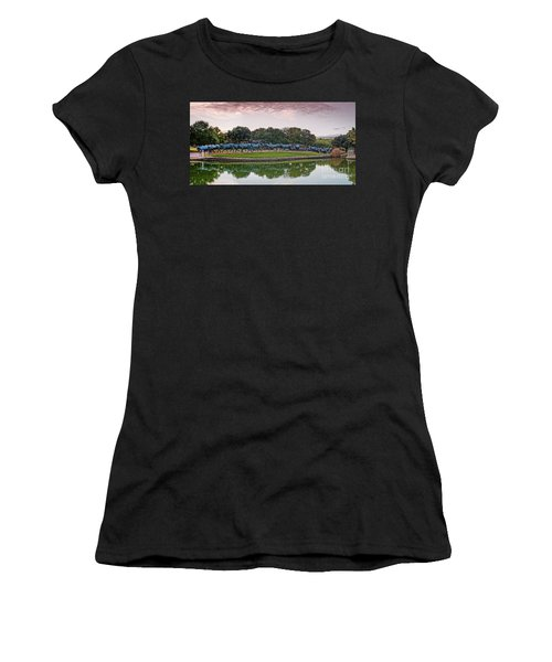 Sunrise Panorama Of Cattle Drive Sculpture At Pioneer Plaza - Downtown Dallas North Texas Women's T-Shirt (Athletic Fit)