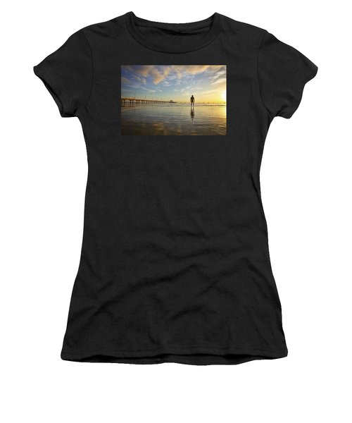 Sunrise Silhouette Down By The Pier. Women's T-Shirt