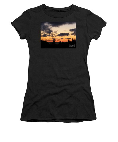 Women's T-Shirt (Junior Cut) featuring the photograph Sunset And Dark Clouds by Barbara Griffin