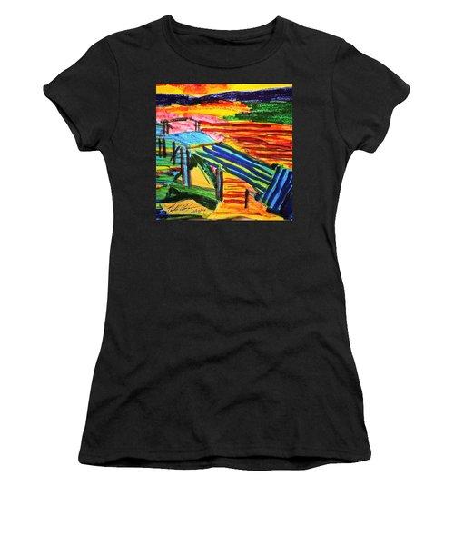 Sunset At Dock Women's T-Shirt