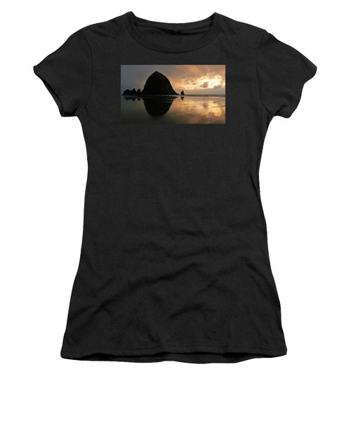 Sunset At Haystack Rock Women's T-Shirt (Athletic Fit)