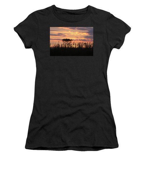 Women's T-Shirt (Athletic Fit) featuring the photograph Sunset At Ocean City by Vadim Levin