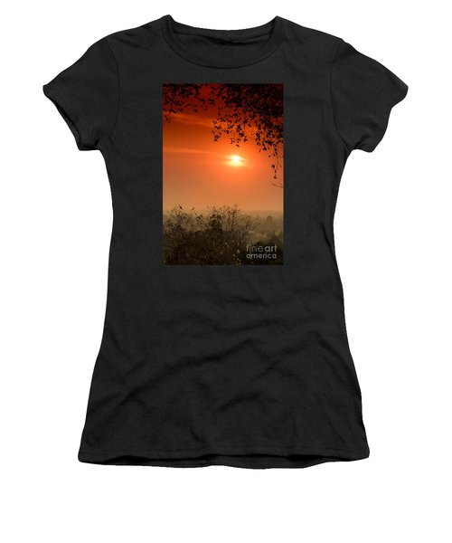 Women's T-Shirt (Athletic Fit) featuring the photograph Sunset At Phnom Bakheng Of Angkor Wat by Yew Kwang