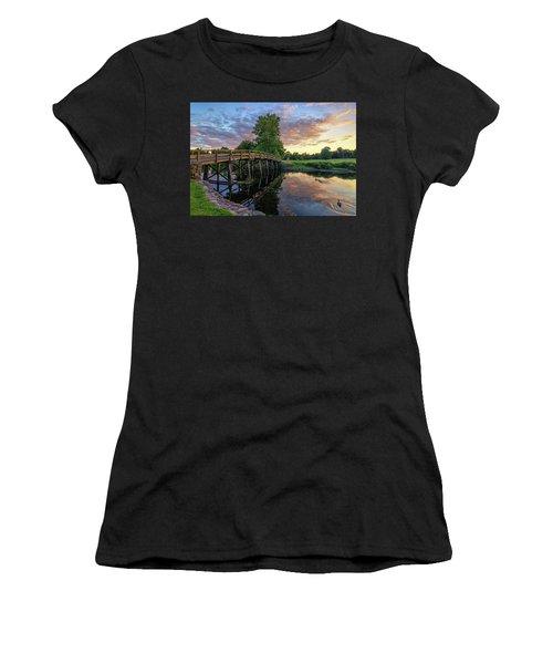 Sunset At The Old North Bridge Women's T-Shirt