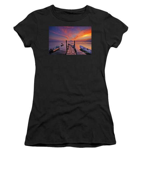 Sunset At The Panajachel Pier On Lake Atitlan, Guatemala Women's T-Shirt
