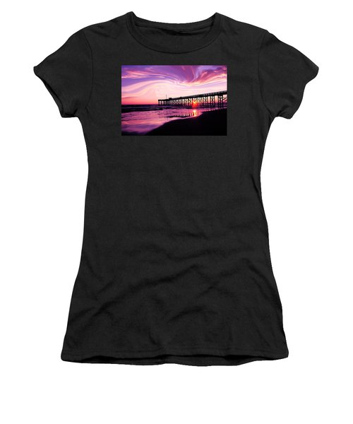 Sunset At The Pier Women's T-Shirt (Junior Cut) by Eddie Eastwood