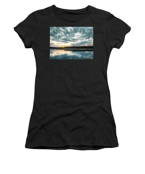 Sunset Behind Small Hill With Storm Clouds In The Sky Women's T-Shirt