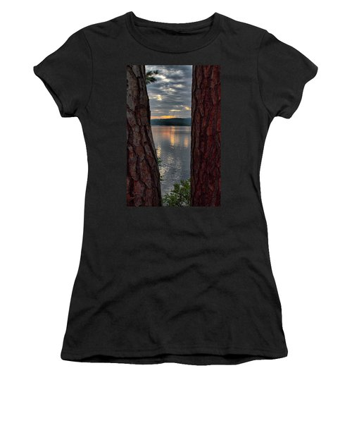 Women's T-Shirt (Athletic Fit) featuring the photograph Sunset Between Trees  by Betty Pauwels