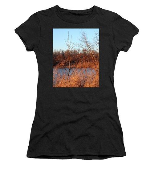 Sunset Field Over Water Women's T-Shirt