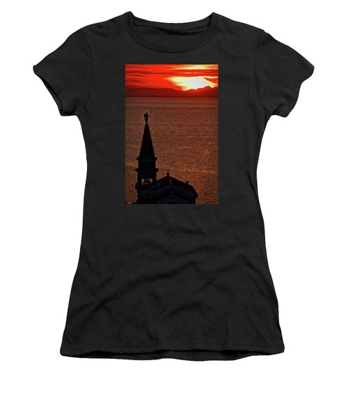 Women's T-Shirt (Athletic Fit) featuring the photograph Sunset From The Walls #4 - Piran Slovenia by Stuart Litoff