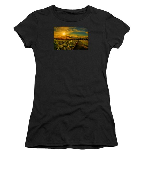 Women's T-Shirt (Junior Cut) featuring the photograph Sunset In A North Carolina Tobacco Field  by John Harding