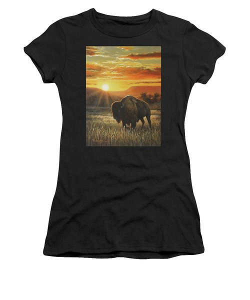 Sunset In Bison Country Women's T-Shirt (Athletic Fit)