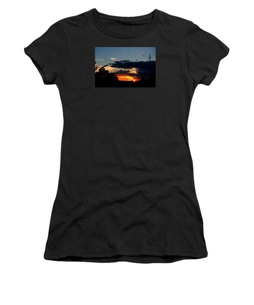Women's T-Shirt (Junior Cut) featuring the photograph Sunset In Oil Santa Fe New Mexico by Diana Mary Sharpton