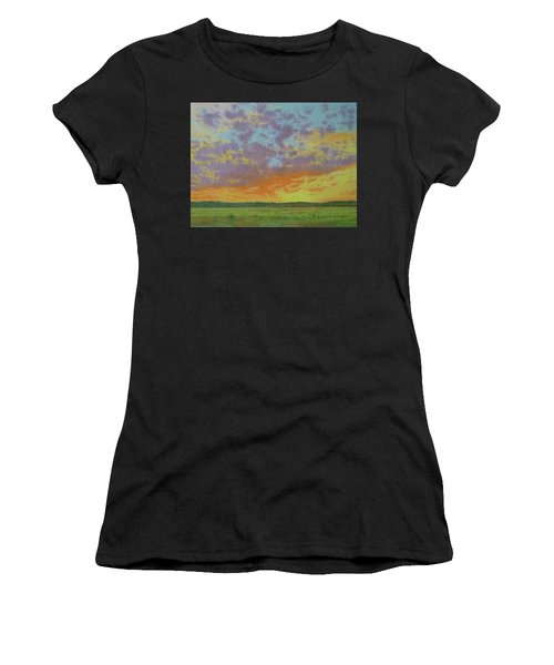 Women's T-Shirt featuring the pastel Sunset Near Miles City by Cris Fulton