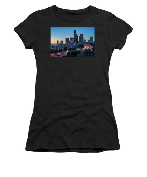 Sunset Night-freeway Lights Women's T-Shirt (Athletic Fit)