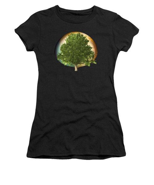 Sunset Oak Tree Cartoon Women's T-Shirt