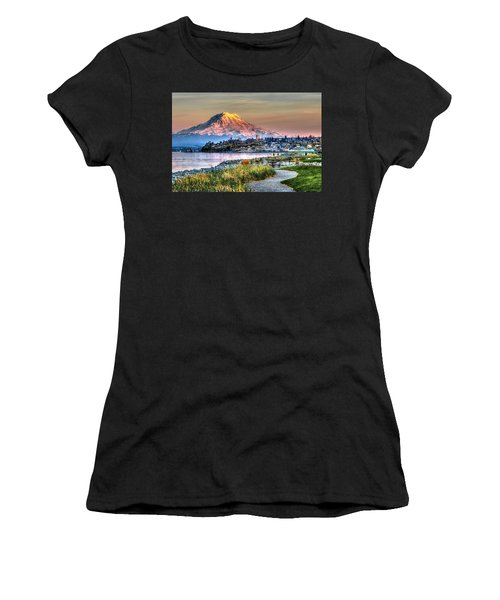 Sunset On Mt Rainier And Point Ruston Women's T-Shirt (Athletic Fit)