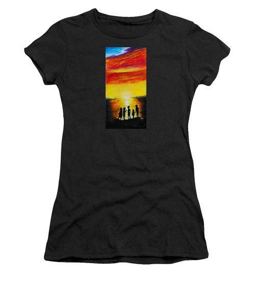 Sunset On The Great Salt Lake Women's T-Shirt (Junior Cut) by Sherril Porter