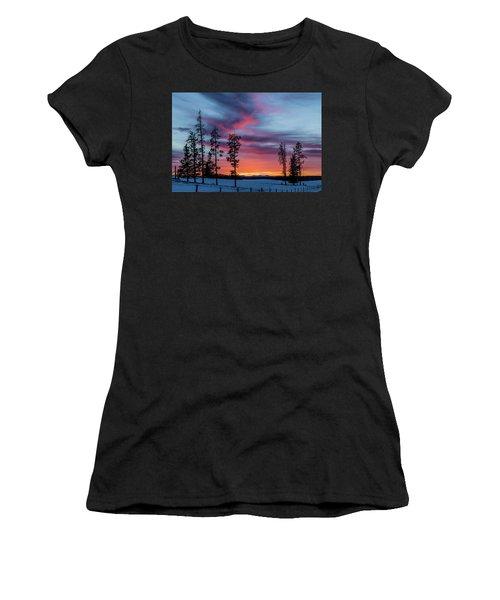Sunset Over A Farmers Field, Cowboy Trail, Alberta, Canada Women's T-Shirt