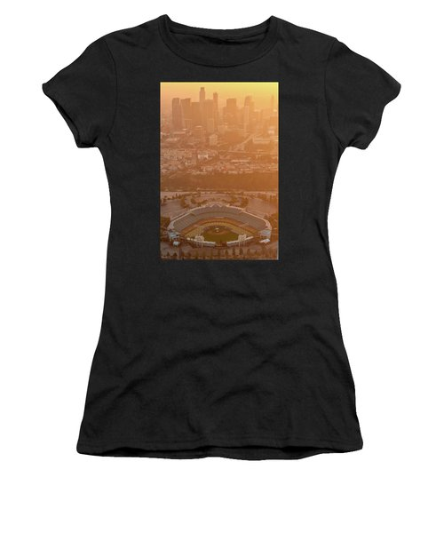 Sunset Over Dodger Stadium Women's T-Shirt (Athletic Fit)